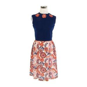 Blue orange A-line vintage dress XS